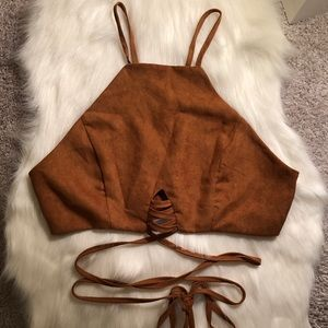 🌜Brown Wrap Up Crop Halter🌛